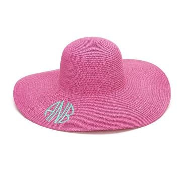 Monogram Floppy Hat | Striped Hat | Straw Hat | Beach Hat | Floppy Beach Hat | Floppy Straw Hat | Monogrammed Hat | Kentucky Derby Hat