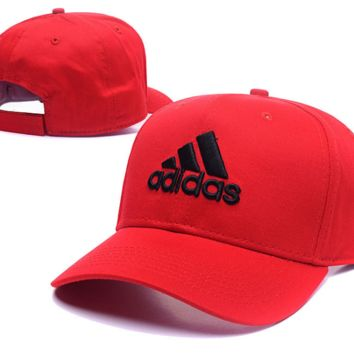 Red Adidas Embroidered Baseball Cap Outdoor Hat