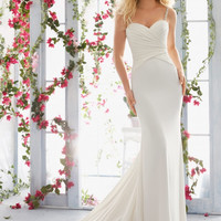 Voyage by Mori Lee 6815 Simple Beaded Strap Sheath Wedding Dress