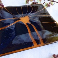 Shimmering Glass Plate in Black and Coral by bprdesigns on Etsy
