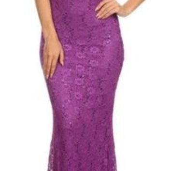 Sophisticated Perfect Illusion Lace Purple Evening Dress