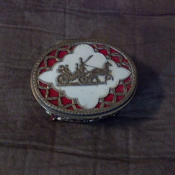 Vintage Metal Trinket Box, Oval Trinket Box, Red Velvet Lined Filigree Metal Trinket/ Jewelry Box