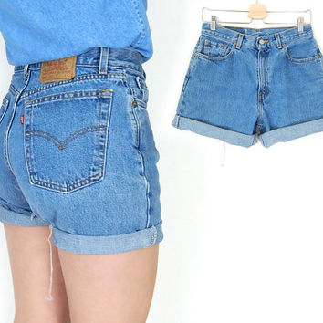 Vintage 90s Levis 560 High Waisted Denim Cutoff Jean Shorts - Size 8 - Loose Fit Cuffed Faded Blue Women's Levis Shorts - 30 Waist