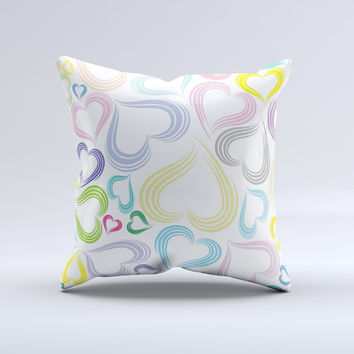 Pastel Color Vector Heart Pattern ink-Fuzed Decorative Throw Pillow