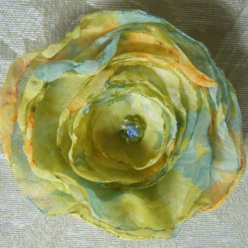 Impressionist Floral Print Handmade Flower Hair Clip Brooch  Monet Water Lilies