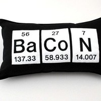 Bacon Periodic Table Element Cotton  Pillow by YellowBugBoutique