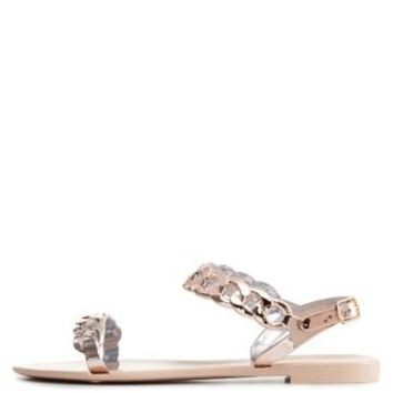 Nude Bamboo Metallic Chain Strap Jelly Sandals