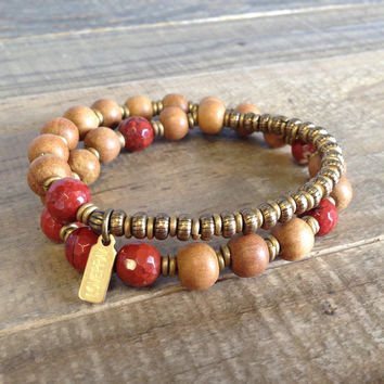 "Sandalwood and Red Jasper ""First Chakra"" 27 Beads Wrap Mala Bracelet"