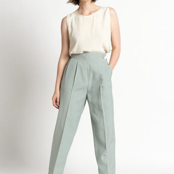 Vintage 70s Seafoam Green High Waist Pleated Menswear Trousers | L