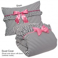 Wake Up Frankie - Penny and the French Quarter Set - Black and White Stripe  : Teen Bedding, Pink Bedding, Dorm Bedding, Teen Comforters