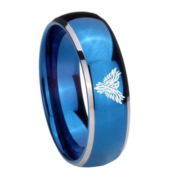 8MM Glossy Blue Dome Phoenix Tungsten Carbide 2 Tone Laser Engraved Ring