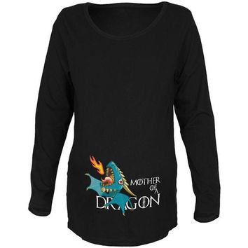 DCCKJY1 Mother of a Dragon Cute Blue Fire Maternity Soft Long Sleeve T Shirt