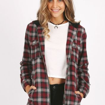 Idle Time Plaid Jacket in Red