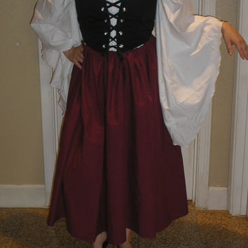 Romatic Renaissance Women Costume 3 Piece Full Costume Pirate Wench Villager Fairytale Cosplay