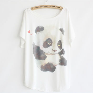 2015 Summer fashion loose women's cotton T-shirt print animals  panda good quality batwing tops tshirt 47888
