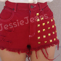 red denim shorts high waisted gold studded denim shorts