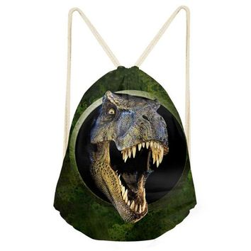 School Backpack trendy FORUDESIGNS  Drawstring Bag Kids Dinosaur Prints Men Daypack For Boys Children Rucksack Sliding Bags Shoulder Bag AT_54_4