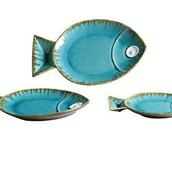 Seabreeze Blue Ceramic Fish Plates -- Set of 3