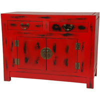 Traditional Antique Red Chinese Cabinet (China) | Overstock.com