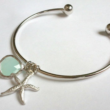 Adjustable Silver Beach Bangle Bracelet, Beach wedding, mother's day, mom sister friend gift, wedding jewelry, bridesmaid, maid of honor