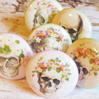 6 Skull and Flower Knob Drawer Pulls, Handmade Birch Wood Cabinet Pull Handles, Pink and Green Floral Skeleton Dresser Knobs, Made to Order