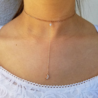 Moon Lariat Y Necklace