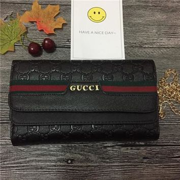 Gucci Fashion Stripe Double G Letter Embossed Metal Chain Single Shoulder Messenger Bag Women Clutch Double Layer Flip Small Square Bag