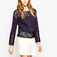 French Connection Fast Hannah Lace Sweat at asos.com