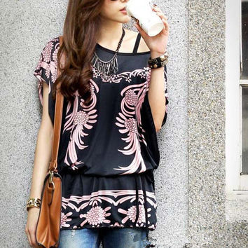 Women's Black and Pink Summer Fashion Top Shirt Lightweight Loose Long