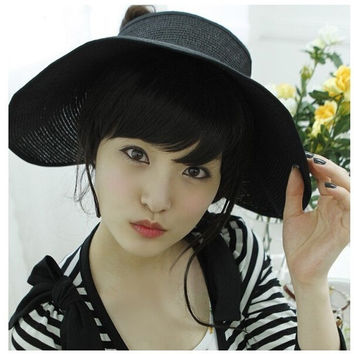 Womens Foldable Straw  Wide Brim Summer black Outdoor Sun Hat UV Protection Large brimmed hat