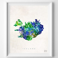 Iceland Watercolor Map Print