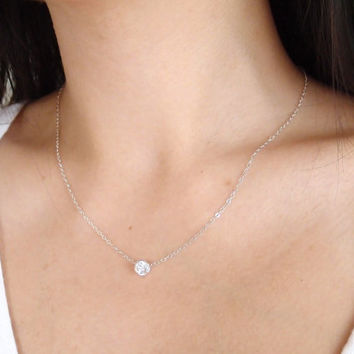 Le Petite  Sterling Silver Crystal Necklace  by theplaincanvas