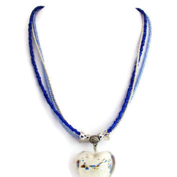 Glass heart pendent, white and blue glass heart necklace with feature foiled glass heart and blue seed beads, adjustable necklace uk seller