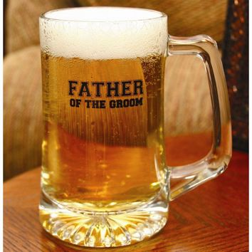 Glass Father of the Groom Mug - Etching Personalized Perfect Wedding Gift