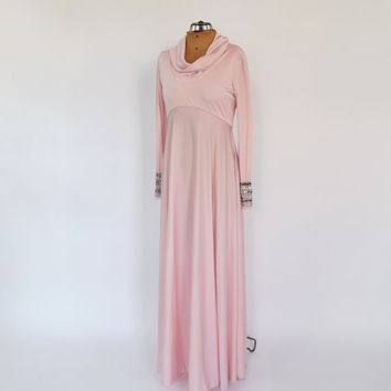 Vintage 1970s Pink Silver Sequin Goddess Maxi Gown Empire Waist Glam Princess Dress  Long Prom Gown Fairy Queen Avant Garde Motown Disco