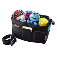 Diaper Bag Insert Organizer for Stylish Moms, Black (More Color Options Available), 12 pockets, Turn Your Favorite Tote Bag into A Trendy Diaper Bag, by MommyDaddy&Me, Black