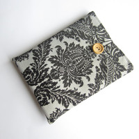 Black damask Kindle sleeve, iPad mini sleeve, Kindle Paperwhite sleeve, Kindle Fire case, Kindle Fire HD sleeve, Nexus 7 sleeve, ipad sleeve