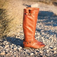 DBDK Dakkeni-3 Buckled Riding Knee High Boot (Cognac) - Shoes 4 U Las Vegas