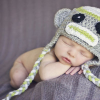 Baby Girl or Boy Sock Monkey Earflap Hat in Gray by Snazzybeans