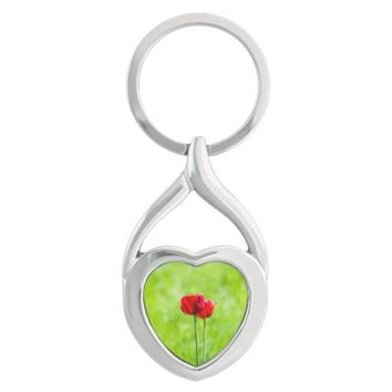 Two red tulip flowers Silver-Colored twisted heart keychain
