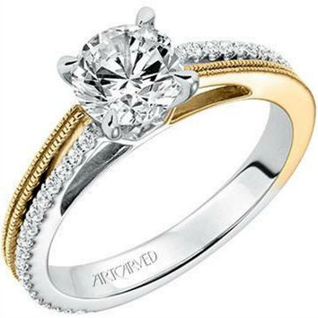"Artcarved ""Lancy"" Two-Tone White and Yellow Gold Diamond Engagement Ring"