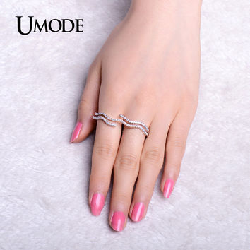 UMODE 2016 Stylish Wave Shaped Simulated CZ Stone Pave Two Finger Rings White Gold Color Jewelry for Women Anillos Mujer UR0297
