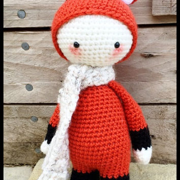 Handmade Crochet Amigurumi Mini Fibi Fox Doll  - Lalylala- cute Gift idea - 10 inches tall