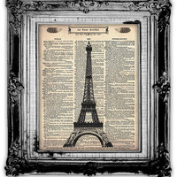 EIFFEL TOWER Dictionary Art Print Antique by FoxHunterStudios