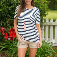 Hitch A Ride Top, Navy