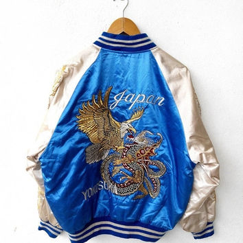 CRAZY SALE 25% JAPAN Sukajan Vintage 80's Japan Eagles Yokosuka Embroidery Embroidered Souvenir Bomber Satin Varsity Jacket Coat M
