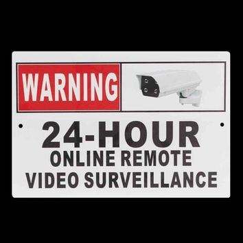 "30 x 20cm (12"" x 8"") 24 Hour Online Remote Video Surveillance Security CCTV Camera Metal Sign Decal"