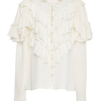 Silk blouse with ruffle details | Moda Operandi