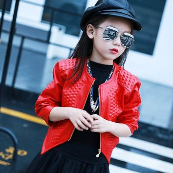 Fashion Girls Faux Leather Jacket Princess Style New Kids Spring Leather Coat Child Quality Outwear