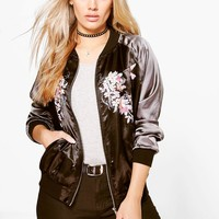 Plus Cassy Embroidered Bomber Jacket